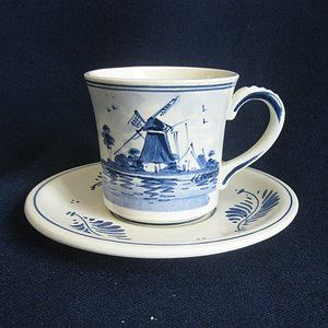 Delft Blue and White Windmill Cup and Saucer